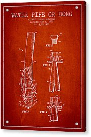 Water Pipe Or Bong Patent 1975 - Red Acrylic Print by Aged Pixel
