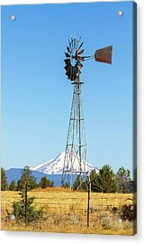 Water Pump Windmill In Central Oregon Farm Acrylic Print by David Gn