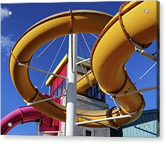Water Slides At Bundoran Waterworld - Abstract, Bright Primary Colours Against A Deep Blue Sky Acrylic Print