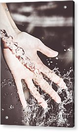 Water Splash Pouring From Woman's Hands Acrylic Print by Jorgo Photography - Wall Art Gallery