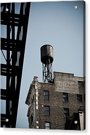 Water Tower And Fire Escape Acrylic Print by Darren Martin