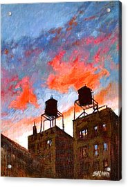 Water Towers At Sunset No. 1 Acrylic Print