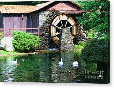 Acrylic Print featuring the painting Water Wheel Duck Pond by Smilin Eyes  Treasures