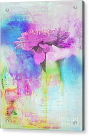 Watercolor Abstract Flower In Purple And Blue Acrylic Print