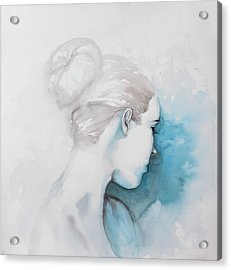 Watercolor Abstract Girl With Hair Bun Acrylic Print