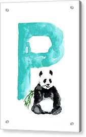 Watercolor Alphabet Giant Panda Poster Acrylic Print