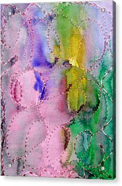 Watercolor And Glue  Acrylic Print by Margie  Byrne