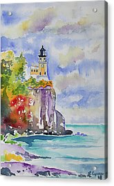 Watercolor - Autumn At Split Rock Lighthouse Acrylic Print