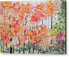 Watercolor - Autumn Forest Acrylic Print