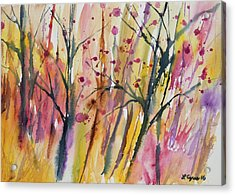Acrylic Print featuring the painting Watercolor - Autumn Forest Impression by Cascade Colors