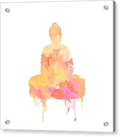 Watercolor Buddha Art Acrylic Print by Anita Mihalyi