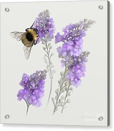Acrylic Print featuring the painting Watercolor Bumble Bee by Ivana Westin