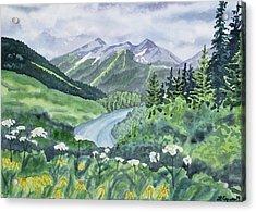 Watercolor - Colorado Summer Landscape Acrylic Print