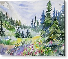 Acrylic Print featuring the painting Watercolor - Colorado Summer Scene by Cascade Colors