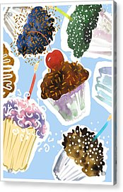 Watercolor Cupcakes With Sprinkles Acrylic Print