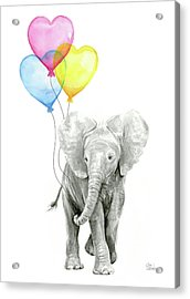 Watercolor Elephant With Heart Shaped Balloons Acrylic Print
