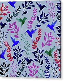 Watercolor Floral Birds Acrylic Print