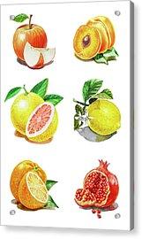 Watercolor Food Illustration Fruits Acrylic Print