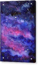 Watercolor Galaxy Pink Nebula Acrylic Print