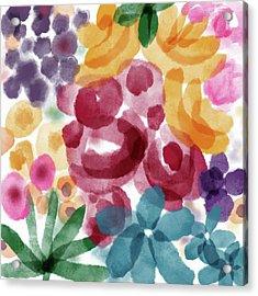 Watercolor Garden Flowers- Art By Linda Woods Acrylic Print