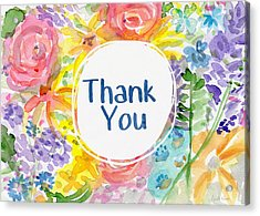 Watercolor Garden Thank You- Art By Linda Woods Acrylic Print by Linda Woods
