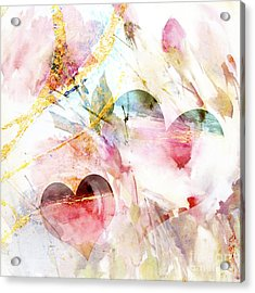 Watercolor Hearts Abstract Acrylic Print