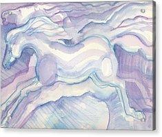 Watercolor Horses Acrylic Print by Linda Kay Thomas