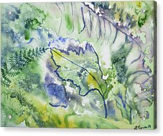 Acrylic Print featuring the painting Watercolor - Leaves And Textures Of Nature by Cascade Colors