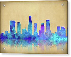 Acrylic Print featuring the digital art Watercolor Los Angeles Skylines On An Old Paper by Georgeta Blanaru