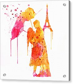 Watercolor Love Couple In Paris Acrylic Print by Marian Voicu