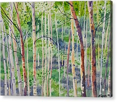 Watercolor - Magical Aspen Forest After A Spring Rain Acrylic Print