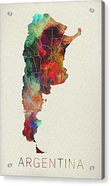 Watercolor Map Of Argentina Acrylic Print by Design Turnpike