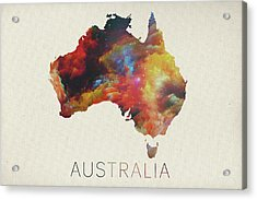 Watercolor Map Of Australia Acrylic Print by Design Turnpike