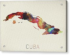 Watercolor Map Of Cuba Acrylic Print