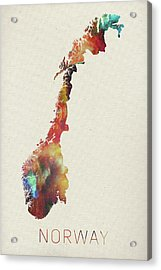 Watercolor Map Of Norway Acrylic Print by Design Turnpike
