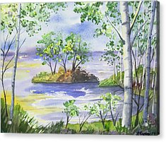 Acrylic Print featuring the painting Watercolor - Minnesota North Shore Landscape by Cascade Colors