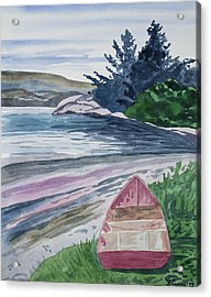 Acrylic Print featuring the painting Watercolor - New Zealand Harbor by Cascade Colors
