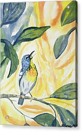 Acrylic Print featuring the painting Watercolor - Northern Parula In Song by Cascade Colors