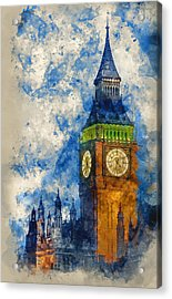 Watercolor Painting Of Big Ben At Twilight Witth Lights Making A Acrylic Print
