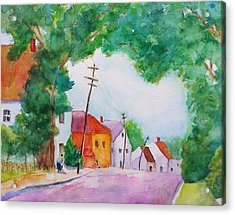 Watercolor Painting Of Cottage Street Acrylic Print