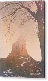 Acrylic Print featuring the painting Watercolor Painting Of Mayan Temple- Tikal, Guatemala by Ryan Fox