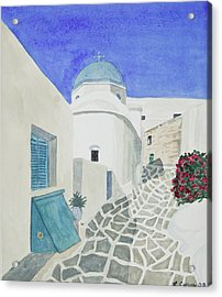 Acrylic Print featuring the painting Watercolor - Paros Church And Street Scene by Cascade Colors