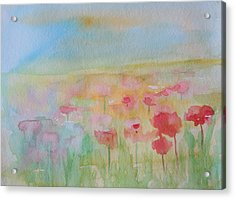 Watercolor Poppies Acrylic Print by Julie Lueders