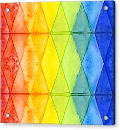 Watercolor Rainbow Pattern Geometric Shapes Triangles Acrylic Print by Olga Shvartsur