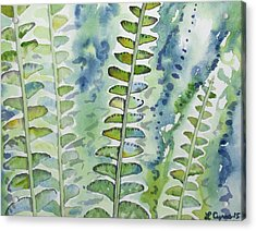 Acrylic Print featuring the painting Watercolor - Rainforest Fern Impressions by Cascade Colors