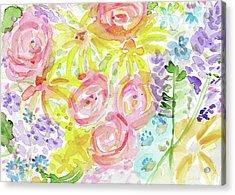 Watercolor Rose Garden- Art By Linda Woods Acrylic Print