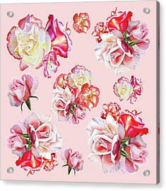 Acrylic Print featuring the painting Watercolor Roses Pink Dance by Irina Sztukowski
