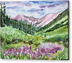 Acrylic Print featuring the painting Watercolor - San Juans Mountain Landscape by Cascade Colors