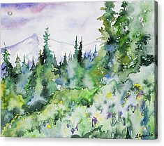 Watercolor - Summer In The Rockies Acrylic Print