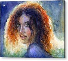 Watercolor Sunlit Woman Portrait 2 Acrylic Print by Svetlana Novikova